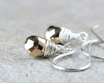 Pyrite  Earrings Sterling Silver Gemstone Jewelry Wire Wrap Small Drop Earrings Pyrite Jewelry Fools Gold Wire Wrapped Handmade Jewellery