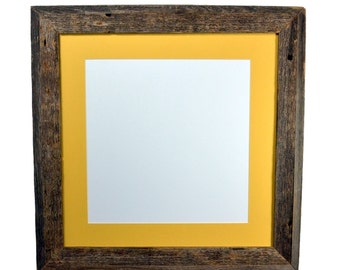 16 x 16 gallery style repurposed wood frame with mat for 12x12,14x14 or 13x13 pictures or prints