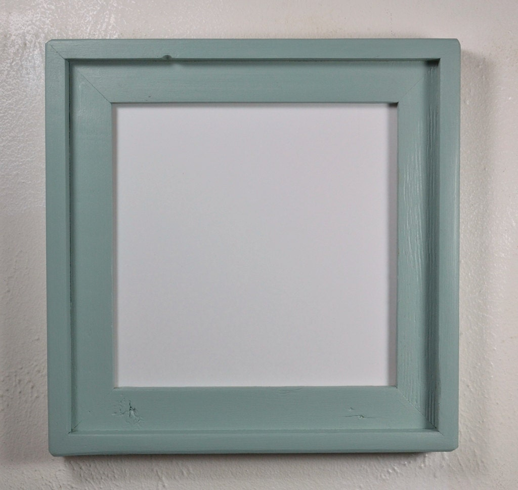 10 X 10 Light Blue Picture Frame From Reclaimed Wood With Mat