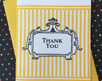 Letterpress Card - Thank You Yellow Stripes