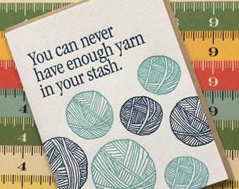 Letterpress Card - lots of yarn