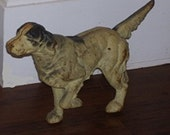 English Setter Pointer Spaniel Vintage Cast Iron Hubley DoorStop Statue Hunting Dog Yard Art Patina