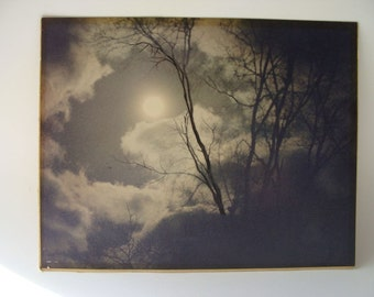 vintage largeblack and white photo of a full moon clouds and trees
