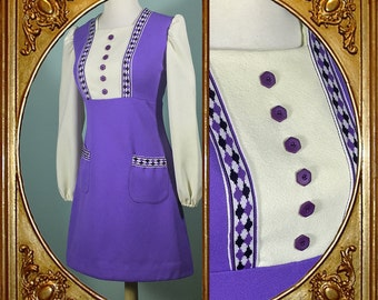 60s Mod periwinkle purple pinafore mini dress.