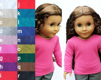 Fits American Girl Doll - Doll Clothes - Long-Sleeve Tee, You Choose Color