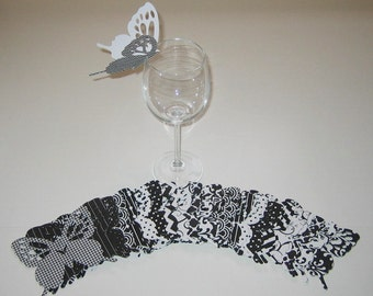 Wine Glass Butterfly Place Card Black White Patterned Wedding Shower Anniversary Birthday  (84)