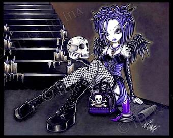 SALE Gothic Fairy Art Embellished Ltd Canvas Print 8x10 Blue Skull Angel Gabriella