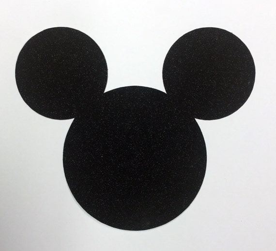 Disney Mickey Mouse Jumbo 7 Inch Black Glitter Die Cut Self-Adhesive Sticker Shape - 10 Pcs - Vacation Scrapbook Decor Craft Art Kids 00406