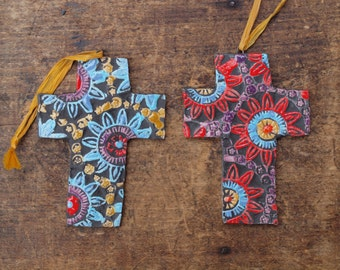 Christmas Ornaments READY TO SHIP Cross Ornament Set of 2 Pottery Ornaments Ceramic Ornament Tree Trim Gift for Couple Romy and Clare