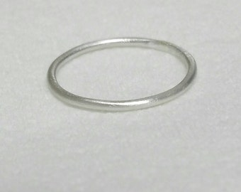 1 Thin Silver Ring, Stacking Ring, Satin, Brushed Silver Midi Ring, Size 7 Stackable Ring, Hammered Ring, Plain Band  Maggie McMane Designs