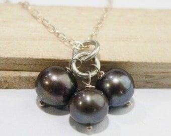 SALE Platinum Freshwater Pearl Pendant, Three Pearls, Big Chocolate pearls, Freshwater Pearls, Sterling Silver