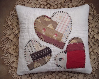 Primitive Very Small Valentine Heart Pillow From Vintage Hand Stitched Quilt Blocks