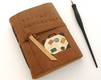 Brown Leather Travel Journal and Sketchbook Hand Painted Vintage Inspired Book Travel Gift for Artists and Writers Handmade Journal