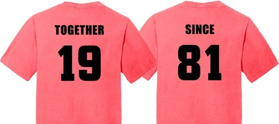 Coral 35th Wedding Anniversary Gifts: 35th Anniversary Gift In CORAL Couples T-Shirts By GroomSocks