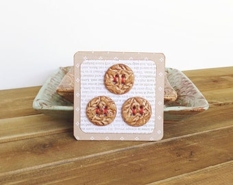 Round Textured Stoneware Buttons in Speckled Tan - Set of 3