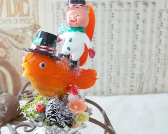 One of a Kind Heirloom Vintage Feathered Orange Baltimore Oriole Bird Christmas Tree Ornament Clip Frosty the Snow Man Gift Millinery