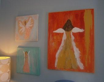 "Angel Painting, Original, 18 x 24, Acrylic, ""Praising Him"""