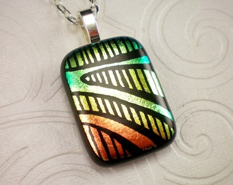 Yellow Red and Green Hand Etched Fused Dichroic Glass Pendant