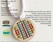 Modern Embroidered Pendant Craft Workshop, Art Class, DIY Workshop - February 27, 2016