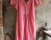 ON SALE Red Stone Washed Linen Dresss