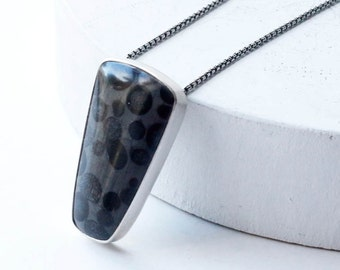 Cauldron Necklace - Oolitic Black Jasper Necklace