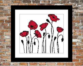 Abstract Poppies - a Counted Cross Stitch Pattern