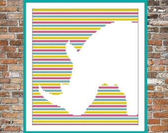 Rhino on Stripes - a Counted Cross Stitch Pattern