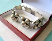 Vintage Sterling Mexican Deco Repousse Orb Bracelet
