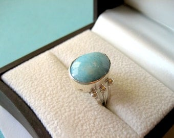 Native American Sterling Silver and Larimar Running Bear Ring