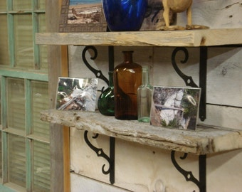 "DRIFTWOOD SHELVING (1.5""X 5.5 to 7"" X 28 inches)(Come with 2 brackets per shelf)"