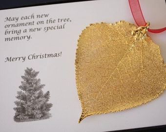 Gold Aspen Leaf Ornament, Real Aspen Leaf, Extra Large, Ornament Gift, Christmas Card, Happy Holiday Gift, First Christmas, ORNA67