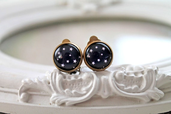 Pretty star clip on earrings space starry night black