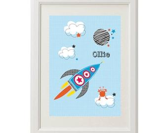 Boys rocket personalised wall print