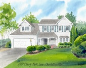 Custom 8x10 Watercolor Home/House Portrait Painting-FREE SHIPPING-Not Available For Christmas Delivery