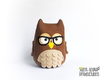 Brown Owl Plush, Stuffed Hooter Bird Plushie with Black Glasses, Plushoween, READY TO SHIP