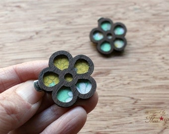 Mini Flower Hair Clips - Laser Cut Walnut Wood and Vintage Kimono Clips