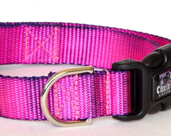 "Dog Collar - ( Pink & Black ) ""Pretty in Pink"" Hand Dyed Martingale, Buckle 1""- 2"" Width"