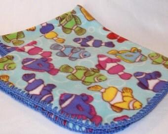 Fish Fleece Blanket with Blue Crochet Edges