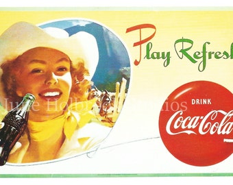 Digital Download Vintage PostCard and Billboard Images Cowgirl Drinking Coca Cola 0029