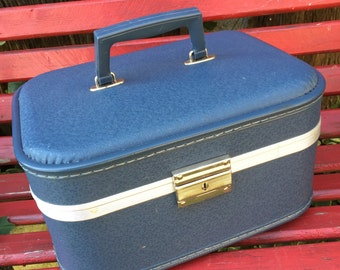 Vintage Small Blue Overnight Case Train Case Luggage