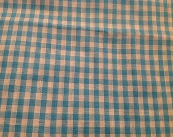 1 Yard of Vintage Aqua and White Gingham Check Cotton Fabric