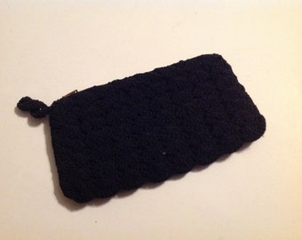 Vintage Black Crochet Lined Wallet/Billfold/Clutch/Cosmetic Bag