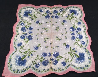 Vintage Beautiful Ladies PInk and Blue Floral Flowers Print Handkerchief