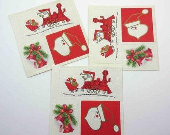 Assorted Unused Vintage Christmas Tags String Tags or Cards Set of 9 Santa Train Bells