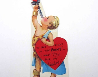Vintage Children's Novelty Valentine Greeting Card with Little Boy Sword Swallower at Circus