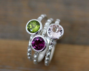 Morganite, Peridot and Rhodolite Garnet Ring in Recycled Sterling Silver, Gemstone Stacking Ring Set of Pinks and Green
