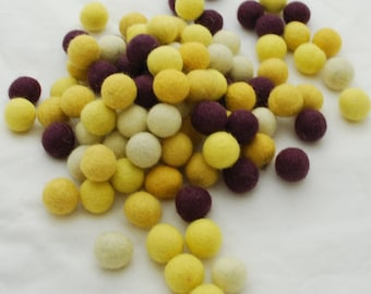 2cm - 100% Wool Felt Balls - 100 Count - Kitchen Garden Colours - Yellow Courgette Flower & Aubergine Purple