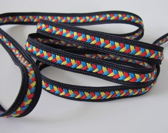 3 yards BRAIDED BRAID Reversible passementerie trim. Turquoise, red, yellow on black. 3/8 inch wide. 6004-F