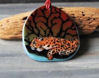 Leopard necklace  - Fused glass pendant
