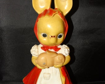 Vintage Knickerbocker Plastic Bunny RABBIT, Easter Bunny made in Hollywood California antique retro Holiday toy classic Easter Basket toys